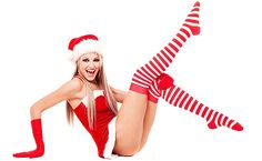 beautiful young blond woman dressed as Santa, isolated against white background Stock Photo Naughty Santa, Ronald Mcdonald, Pin Up, Seasons, Disney Princess, Disney Characters, Collection, Beautiful, Dresses