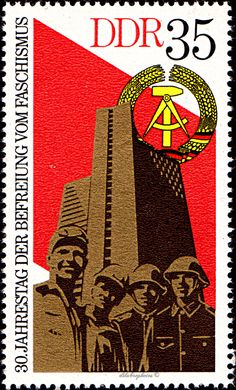 German Democratic Republic.  30th ANNIVERSARY OF FREEDOM FROM FASCISM.  ARMS OF GDR, SKYSCRAPER & STATUE AT OTENBURG (Economic Integration). Scott 1642 A500, Issued 1975 May 6, 35.  /ldb.  (MINT)