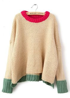 sweater with color contrast trim- good colour inspiration for the knit cafe's sweater class