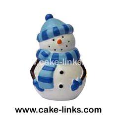 Blue hat happy snowman resin cake topper