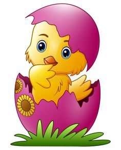 Cute little cartoon chick hatched from an egg isolated on a white background vector illustration Cute Cartoon Drawings, Art Drawings For Kids, Drawing For Kids, Animal Drawings, Art For Kids, Easter Paintings, Easter Wallpaper, Cartoon Wallpaper, Fabric Painting
