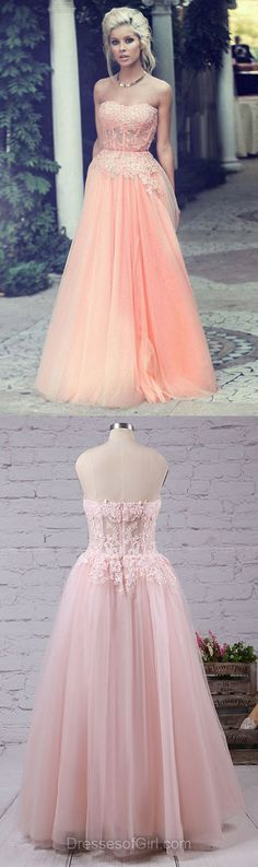 Modest Lace Prom Dresses, A-line Sweetheart Tulle Party Gowns, Long Formal Evening Dresses