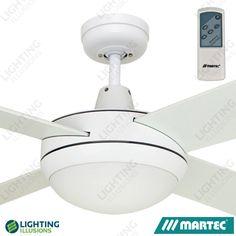 "White Martec Lifestyle 52"" Ceiling Fan With 100W Halogen Light + Premier Remote"