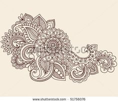 Flowers and Paisley Doodle Vector Illustration Design Element