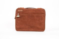 TaboLap portable workstation bag in brown suede leather and canvas lining.