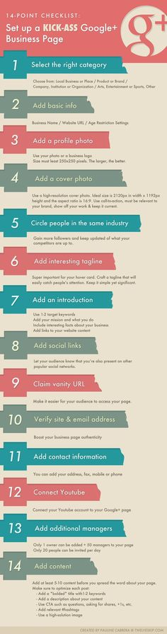 14-Point Checklist to Set up a Kick-Ass Google Plus Page for Business. Read FULL details at: http://www.twelveskip.com/marketing/social-media/1235/checklist-setup-a-google-plus-business-page