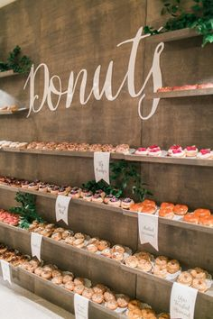A donut bar that will have your mouth watering: http://www.stylemepretty.com/living/2016/09/13/quick-easy-food-bar-ideas-for-any-party/ Photography: Troy Grover - http://blog.troygrover.com/