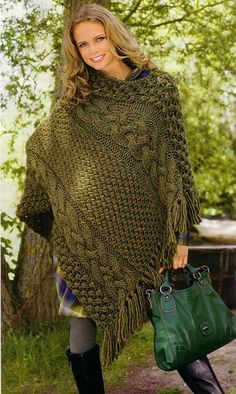 free knitted ponchos for women | Fashion for women: knitted poncho ~ Craft , handmade blog