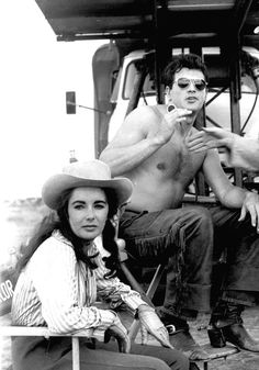 Elizabeth Taylor and Rock Hudson on the set of Giant, 1955.