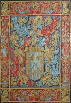 New Belgian Wall Tapestry with De Nagera Coat of Arms Design Basque Reds/Blues