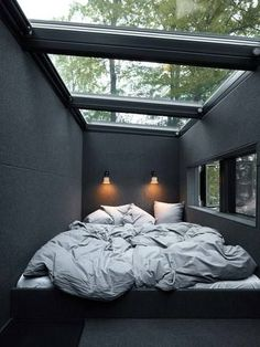 "Vipp Hotel offers ""out of the ordinary"" accommodation in a secluded cabin or an urban loft - Houses interior designs Home Decor Bedroom, Modern Bedroom, Bedroom Ideas, Bedroom Designs, Cozy Bedroom, Black Bedrooms, Black Bedroom Design, Bedroom Green, Coziest Bedroom"