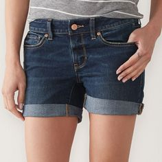 Petite SONOMA Goods for Life™ Jean Boyfriend Shorts, Women's, Size: 16 Petite, Dark Blue