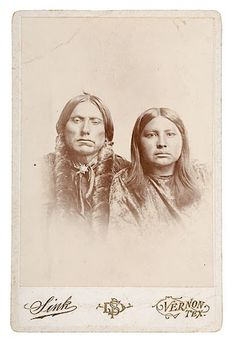 Quanah Parker and one of his wives named Tarnacy - Comanche - no date