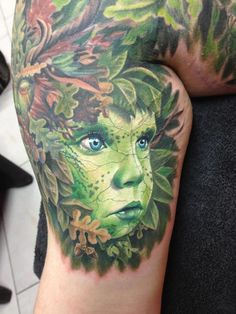child of the forest    Maybe my favorite tattoo of all time.  I love the colors, the subject, the style, and those piercing blue eyes.  Amazing.