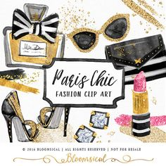 Parisian Chic Hand Painted cliparts featuring fashion & lifestyle beauty graphics : sunglasses, lipstick, perfume bottle, hand bag, earrings and shoes