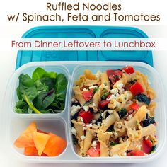 Ruffled Noodles with Spinach, Feta and Tomatoes RECIPE │leftovers to lunch box