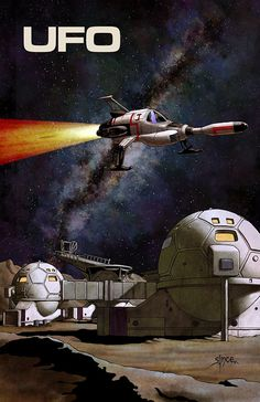 """starlin: """" scifigeneration: """" ART: """"UFO - Moonbase and Interceptor"""" by Steve Ince Created in Photoshop using reference from the Gerry Anderson TV series. 70s Tv Shows, Sci Fi Tv Shows, Sci Fi Tv Series, Retro, Sci Fi Models, Classic Sci Fi, Science Fiction Art, Vintage Tv, Old Tv"""