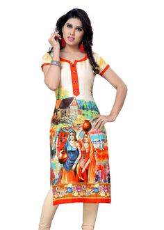 Buy Multi Color Georgette Printed Kurti Online – Fashionic: Indian Ethnic Wear