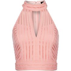 Bardot Sleeveless Halter Neck Crop Top (180 BRL) ❤ liked on Polyvore featuring tops, crop top, shirts, pink, women, pink top, sleeveless halter top, halter-neck crop tops, bardot top and polyester shirt