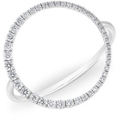 14kt white gold diamond luxe open circle ring ($1,179) ❤ liked on Polyvore featuring jewelry, rings, white gold diamond jewelry, diamond jewellery, circle diamond rings, white gold rings and white gold jewelry