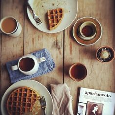 Warm coffee and hot waffles for a cold morning.