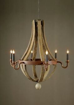 Chandelier made from recycled wine barrel pieces. Simple and elegant.