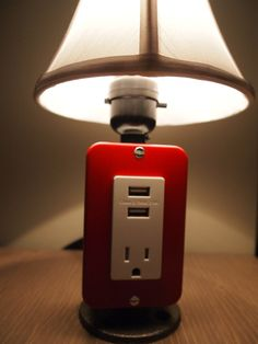 Mini Lamp with USB charging station Industrial lamp by BossLamps