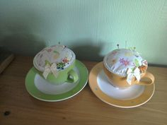 Pin cushion tea cups inspiration from Debbie Shore on u tube
