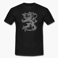 """Finnish lion (from Finland's crest of arms). Harmaa Suomen leijona tummalla paidalla  tyylikäs yhdistelmä. https://shop.spreadshirt.fi/revolt-noir/""""leijona""""-A106381480?appearance=2"""
