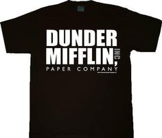The Office Dunder Mifflin INC Paper Company Logo Black T-shirt Tee, Large - Brought to you by Avarsha.com