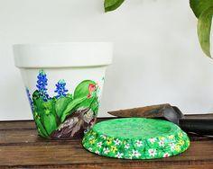 Hand-Painted Flower Pot Terra Cotta Planter and Saucer, Bluebonnets, Cactus…