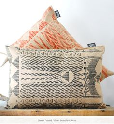 screen-printed pillows...love. and check out this blog! so much cool stuff.