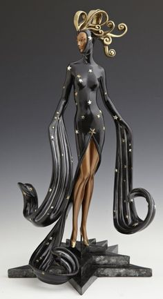 "Erte, ""Bal Tabarin,"" 1989, limited edition patinated bronze sculpture, 159/375, impressed Chalk and Vermilion, Sevenarts Studio, H.- 19 in., W.- 10 in., D.- 9 in."