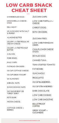 Low Carb snacks! If you're looking for low carb snacks for weight loss, get this free printable list of the best healthy low carb snacks! Whether you're looking for something sweet or crunchy or need high protein snack ideas for the keto or Atkins diet, you'll find a favorite healthy snack here!