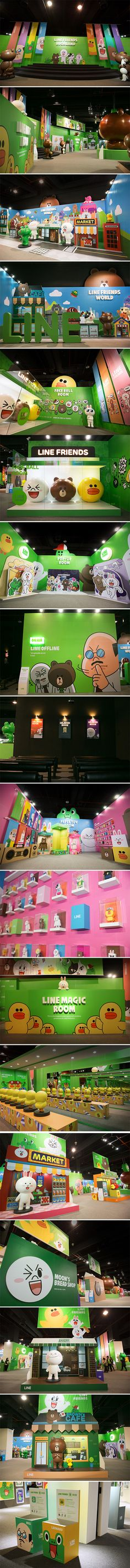 Fun exhibition stand for Line Themepark that includes lots of examples of wide-format print.