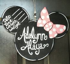 Custom Minnie Mouse newborn hospital door hanger by soulshinegoods Hospital Door Signs, Hospital Door Hangers, Baby Door Hangers, Wooden Door Hangers, Minnie Mouse Baby Shower, Minnie Mouse Pink, Baby Mouse, Minnie Mouse Nursery, Newborn Birth Announcements