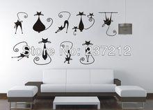 i gatti liberi di trasporto della parete del vinile della decalcomania kids room decor / arte murale decorazione natura animali gatto , autoadesivo della parete animali(China (Mainland))