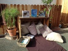 "Space to read outdoors at Methodist Preschool in the Palisades, image shared by The Inspired Child ("",)"