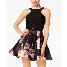 Crystal Doll Juniors' Belted Scuba & Floral-Print Fit & Flare Dress ($69) ❤ liked on Polyvore featuring dresses, floral fit-and-flare dresses, babydoll dresses, crystal dress, flower print dresses and fit and flare dress