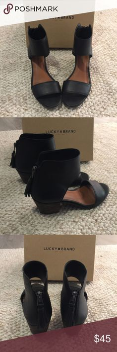 Lucky Brand Black Leather Heeled Sandals In very good used condition. Only the soles show wear (see photo). Size 8.5. These are very comfortable and go with several different types of outfits. They come with the original box. Selling because I only wore them a handful of times so they aren't getting shown off as they should! No swaps. Make a bundle and submit an offer! Lucky Brand Shoes Sandals