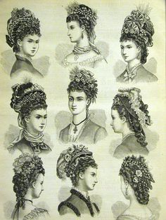 Victorian fashion plate of the 1880s showing fashionable hats and hair styles.