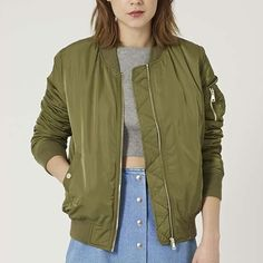 TOPSHOP MA1 Bomber Jacket Tap into the utilitarian look with the soft padded bomber jacket. Complete with authentic MA1 details, ribbed trims, metal hardware and side pockets. 100% Polyester. Dry clean only. Like new. Worn only one time. Topshop Jackets & Coats