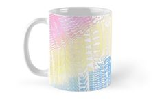"""""""Magic Stairs - white doodle over watercolor"""" Mugs by Heaven7 