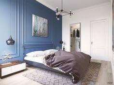 Современная классическая спальня | Студия LESH (lesh, дизайн спальни, классическая спальня, синяя спальня, маленькая спальня, ковер, современная спальня)