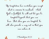 Bible Quote Art- 1 Corinthians 10:13- 8.5X11 Printable - BV-326