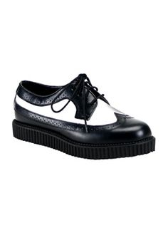 CREEPER-608 Black White Creepers - Creeper shoes and boots