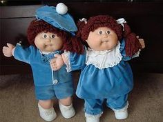 Vintage 1985 Cabbage Patch Kids Twins Brunettes in Blue Mint Single Tooth Dimps | eBay