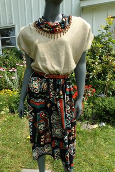 90s Dress sale 20.15 vintage 80s Tribal by 3GenerationCuration #vintage #thrift #fashion #sale #tribal #80s #90s #grunge #dress #beaded #boho #rad
