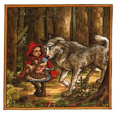 Image from https://gccchildlit.wikispaces.com/file/view/Red_Riding_Hood_and_Wolf.jpg/239755203/413x404/Red_Riding_Hood_and_Wolf.jpg.