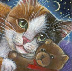 Calico Cat & Teddy bear Mini Painting